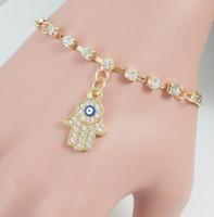 mão de diamante fatima venda por atacado-Moda quente Europeu e Americano moda simples conjunto com olho do diamante do mal a mão de Fátima simples pulseira elegante clássico delicado elega
