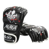 Wholesale sandbag for mma online - Half Fingers Mens Womens MMA Gloves for Boxing Taekwondo Muay Thai Boxeo Karate Sanda Sandbag Punching Gear Fitness Training
