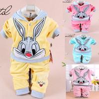 Wholesale velvet clothing brand - baby cartoon rabbit velvet set twinset long sleeve 2pcs set hoodie pant newborn baby cotton suits children's clothes
