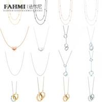 kilitli kolye toptan satış-FAHMI 100% 925 Ayar Gümüş 1: 1 Orijinal Otantik Klasik Daire Birbirine Hediye Nefis Düğün Kadınlar Kolye Takı