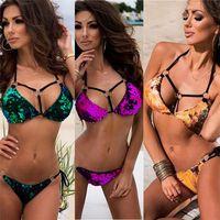 ingrosso costume da bagno bandeau viola-2018 Sexy oro lucido verde viola paillettes bikini perizoma set costume da bagno donna costumi da bagno fascia da bagno per le donne