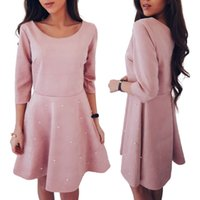 Wholesale Artificial Beads - Women Casual O-Neck Pink Dresses With Artificial Beads Slim Solid Color 3 4 Sleeve Tops RF0876