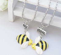 Wholesale wholesale pure gold jewelry - Baby Girls Fashion Animal Bee Best Friends Necklace Yellow women Necklaces Pure Charm Jewelry For Children