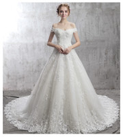 Wholesale wedding dress slim line lace for sale - Group buy A New High Quality Wedding Dresses Shoulder Slim Size Flower Lace Applique Crystal Bead Halter Straps Long Tailed White Church Wedding HY115