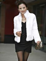 ingrosso giacche di pelliccia nere di coniglio-All'ingrosso-Donne Furry Fluffy Coat Faux Rabbit Fur Cardigan Luxury Warm Jacket Nero / Bianco donna full pelt rabbit jacket Winter Fur Gilet