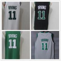 Wholesale mens sport polo - #11 Kyrie Irving Men's Basketball Jerseys 2018 New Fashion Player version Mens polo shirt Yellow White Black Green Men Sport Jersey