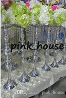 Wholesale cheap wedding candle centerpieces online - elegant metal mateiral sliver color cheap wedding flower stand metal vase candle holder candlestick centerpieces table decoration