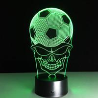 lâmpada de mesa de futebol venda por atacado-Novo Futebol 3d Light 7 Colorfult Led Nightlight Remoto Mesa 3d Lam Sala Novidade Luminaria Levou Lâmpada de Mesa