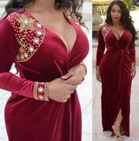 Wholesale velvet african fashion dresses resale online - African Dark Red Velvet Evening Dresses Long Sleeves Deep V Neck Front Split Plus Size Gold Beaded Neckline Formal Prom Party Gowns