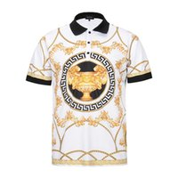 Wholesale Men Pattern Flower Shirt - Summer new Men T-shirt Fashion luxury brand Designer Golden flower pattern Medusa Shirts Casual Harajuku Short Sleeve Tees Casual Tops