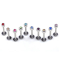 42f692ceb 100pcs Lot 18g 1 .0 *14 *4mm Stainless Steel Crystal Ball Lip Stud Labret  Tragus Ring Nose Labret Tongue Rings Body Piercing