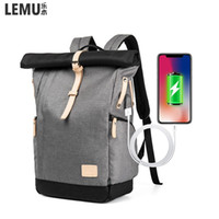 Wholesale hide bag man for sale - Group buy Lemu New Men Backpack Hiking Outdoor Bags Laptop Backpack Large Capacity Stundet Casual hidden charging USB interface