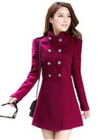 xxl uzun trençkot toptan satış-2018 Sonbahar Kış Kadın A-line Etek Ceket Kruvaze Ince Orta-Uzun Trençkotlar Coats Kadın Ceketler XXL jaqueta feminina