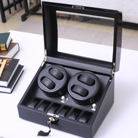Wholesale watch case automatic winder - High Quality 4+6 And 2+0 Automatic watch winder carbon fiber slient motor box watches mechanism cases storage display watches