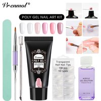 Wholesale Acrylic Red Nail Tips - wholesale 30g Poly Gel Camouflage 6 Colors Extend Builder Nail Design Acrylic French Nail Tip Crystal Gum Jelly PolyGel
