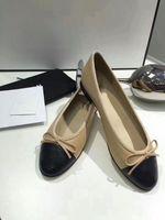zapatos elegantes simples al por mayor-2018 Ocio de Las Mujeres Pisos suave de Calidad Superior de Lujo Marca de Moda de Cuero Genuino de terciopelo Señoras Elegante clásico arco simple Zapatos size35-42