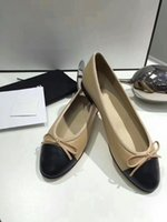 Wholesale Simple Ladies Flat Shoes - 2018 Women's Leisure Flats soft Top Quality Luxury Fashion Brand Genuine Leather velvet Ladies Elegant classic simple bow Shoes size35-42