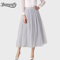 Wholesale Womens Purple Tulle Skirt - Benuynffy Pleated Maxi Tulle Skirts Womens Autumn Spring Summer Elegant Big Swing Long High Waist Adult Tutu Skirt for Women 385
