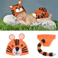 Wholesale handmade knitted clothing online - Tiger Shape Two Children Cap Soft Knitting Kids Clothing Set Animal Photography Props Lovely Handmade Crochet Hat dh WW