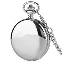 eski saat kılıfları toptan satış-Yeni Varış Gümüş Pürüzsüz Çift Vaka Romen Rakamları İskelet Mekanik Pocket Watch Adam Kadınlar için Predant Vintage Antik Saat Hediye