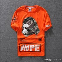 Wholesale mens camo shirt xl - Lovers Summer Mens Cartoon Apes T-Shirts Fashion Crew Neck Short-sleeve classic camo Printed Supply Co Male Tops Tees cartton casual tees