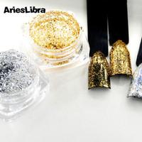 panelas de ouro venda por atacado-Venda quente 0.2g / pote Folha De Prata De Ouro Prego Glitter Em Pó Brilhante Glitter Poeira Prego Lantejoulas Decorações Da Arte 1 pote