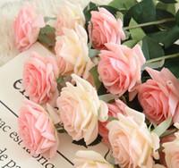 latexseide großhandel-Dekor Rose Kunstblumen Seidenblumen Blumen Latex Real Touch Rose Hochzeitsstrauß Home Party Design Blumen GA479