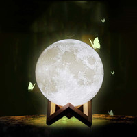 online shopping Led Energy Star - LED Lamp Touch Glowing The Moon Double Color Light Induction Energy-saving Nightlight Bedside Christmas Gifts 3D Printing 8CM