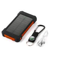 li полимер батарея энергия банк оптовых-Приключения путешествия водонепроницаемый солнечной энергии Банк 10000 мАч двойной USB литий-полимерный аккумулятор Солнечное зарядное устройство powerbank LED Light для iPhone