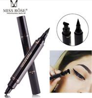 ingrosso trucco nero di marca-Matita per Eyeliner con timbri per trucco a doppia punta neri impermeabili per il trucco di Miss Rose Brand Eyes Liner