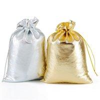 sac plaque dorée achat en gros de-Le cadeau plaqué argent de gaze met 7 * 9/9 * 12/11 * 16/13 * 18cm Bling le sac d'or de cordon sac de cadeau de bijoux pour la faveur de mariage