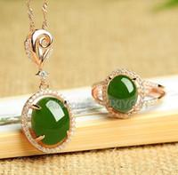 ingrosso set di gioielli di giada-Argento 925 Natural Green HeTian Jade Jasper Beads Intarsio Hollow Lucky Pendant Necklace Anello Donna Fine Jewelry Set Regalo della ragazza