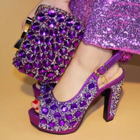 Wholesale Clutch Matching Shoes - PURPLE Fashion Italian Shoes With Matching Clutch Bag Hot African Big Wedding With High Heel Shoes and Bag Set