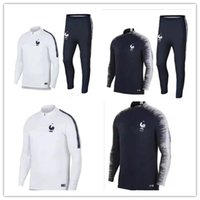 Wholesale black track suits - Thai 2018 France soccer Tracksuit POGBA MATUIDI Track suits jacket 18 19 GRIEZMANN chandal training suits sports wear