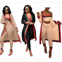Wholesale woman costume online - 2018 New Arrival Black Striped Pieces Sets Casual Outfits Long Cloak Strapless Overalls Bodysuit Women Clothing Sets Costumes