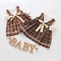 Wholesale korean style shirt baby - Autumn Korean Plaid Skirt Europe and America Dress 2 Piece Set Female Baby Cotton T-Shirt Dress Set