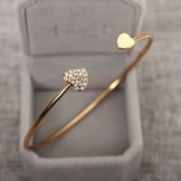 diamante ouro coração venda por atacado-Pulseira banhado a ouro com pulseira de coração duplo e pulseira de coração de diamante em duas cores é opcional para frete grátis