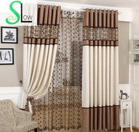 занавески для штор оптовых-Slow Soul Brown Gray European  Curtains Bird Nest Spliced Curtain Linen Tulle For Living Room Kitchen Bedroom Roman Sheer
