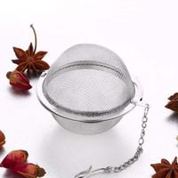 çay bilyesi süzgeç ağız infüzyon filtresi toptan satış-304 Paslanmaz Çelik Hasır Çay Topları 5 cm Çay Demlik Süzgeçler Çay Mutfak Yemek Bar Için Filtreler Aralığı Difüzör araçları