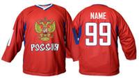 россия хоккейный майка оптовых-Сборная России белая КРАСНАЯ Хоккейная майка Мужская вышитая вышивка Персонализируйте любое количество и имя майки