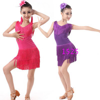 Wholesale professional latin women costumes for sale - Children Professional latin Dancing Clothes Girls Latin Ballroom Dancing Dress Kids Salsa Tassels Stage Dancewear Costumes Dress