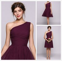 Wholesale one shoulder dresses for juniors - 2018 one shoulder Knee Length Party dresses Grape chiffon Short Prom Dresses Cheap 8th College Junior Homecoming Dress for Cocktail Prom