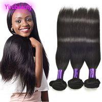 renk 32 saç örgüsü toptan satış-Hint Ham Virgin Remy İnsan Saç 8-30 inç Yirubeauty Düz 3 Demetleri Saç Örgüleri Ipeksi Düz Doğal Renk
