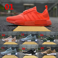 Wholesale Running Tri - 2018 NMD Runner R1 boost Triple Red Black white men women Running Shoes ultra boost ultraboost nmd Tri-Color Women sport Sneakers Eur 36-45