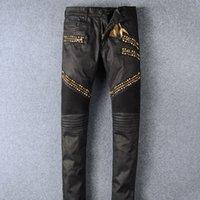 Wholesale Golden Pants - Men's Skinny Pencil Pants Senior Designer Brand 2018 High Quality Jeans Manual Paste Crystal Golden Wings Men's Fashion Crime Zipper Pants