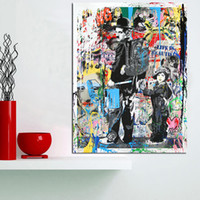 Wholesale framed art deco painting for sale - Group buy Hand painted HD Print Modern Abstract Graffiti Pop Art Oil painting Charlie Chaplin On Canvas Home Deco Wall Art g295