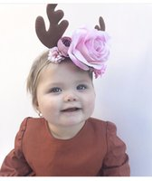 Wholesale Kids Reindeer Antlers - Reindeer Antlers Party Headband Lovely Flower Headband for Kids Cute Christmas Decoration Supplies head band Prop