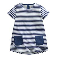 Wholesale Next Kids Clothes Girls - Summer Baby Girls Dress, Navy Stripe dress,Double pockets,Back buttons,Cotton casual Kids Clothes,next clothing style (1-6 yrs)