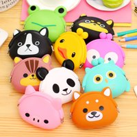 Wholesale Silicone Bag Jelly - 100pcs Cute Mini key Wallet bag Women Silicone hasp Coin Purse Japanese Candy Color lovely Animals Jelly change Coin bag B902