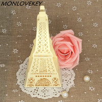 Wholesale cutting food box - 20pcs beige Eiffel Tower Laser Cut Paper Candy Boxes for Wedding Chocolate Gift Box Packaging Bag Party Decorations Favors